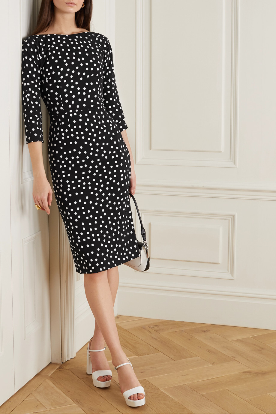 Dolce & Gabbana Polka-dot stretch-cady midi dress