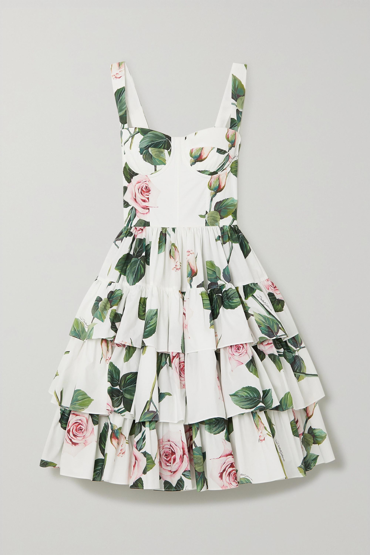 White Tiered Floral Print Cotton Poplin Dress Dolce Gabbana Net A Porter