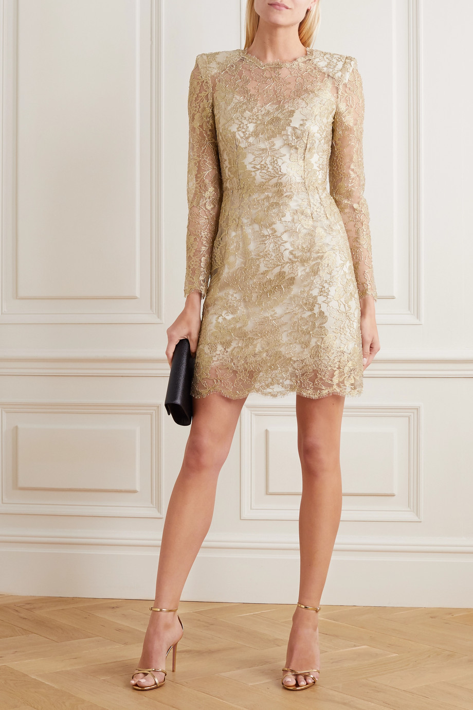 Dolce & Gabbana Minikleid aus Chantilly-Spitze in Metallic-Optik