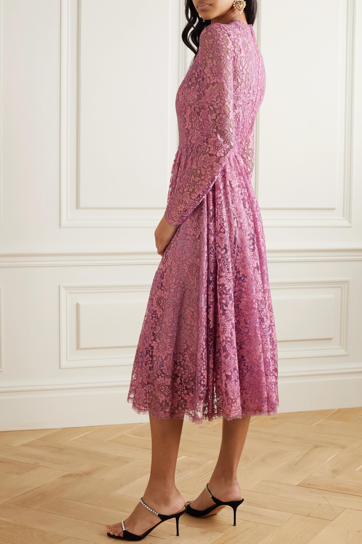 Dolce & Gabbana Pleated Chantilly lace midi dress