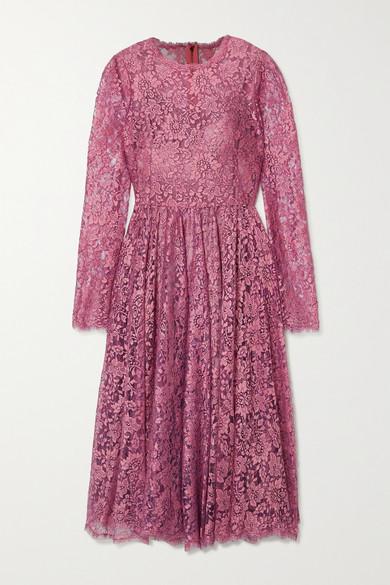 Dolce & Gabbana Dolce&gabbana Chantilly LamÉ Lace Midi Dress In Pink