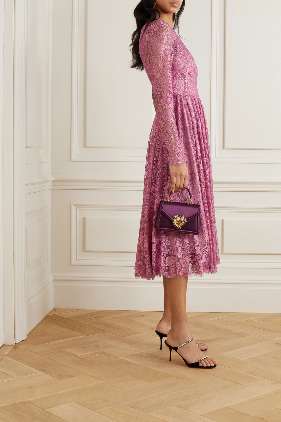 Dolce & Gabbana Pleated Chantilly lace midi dress