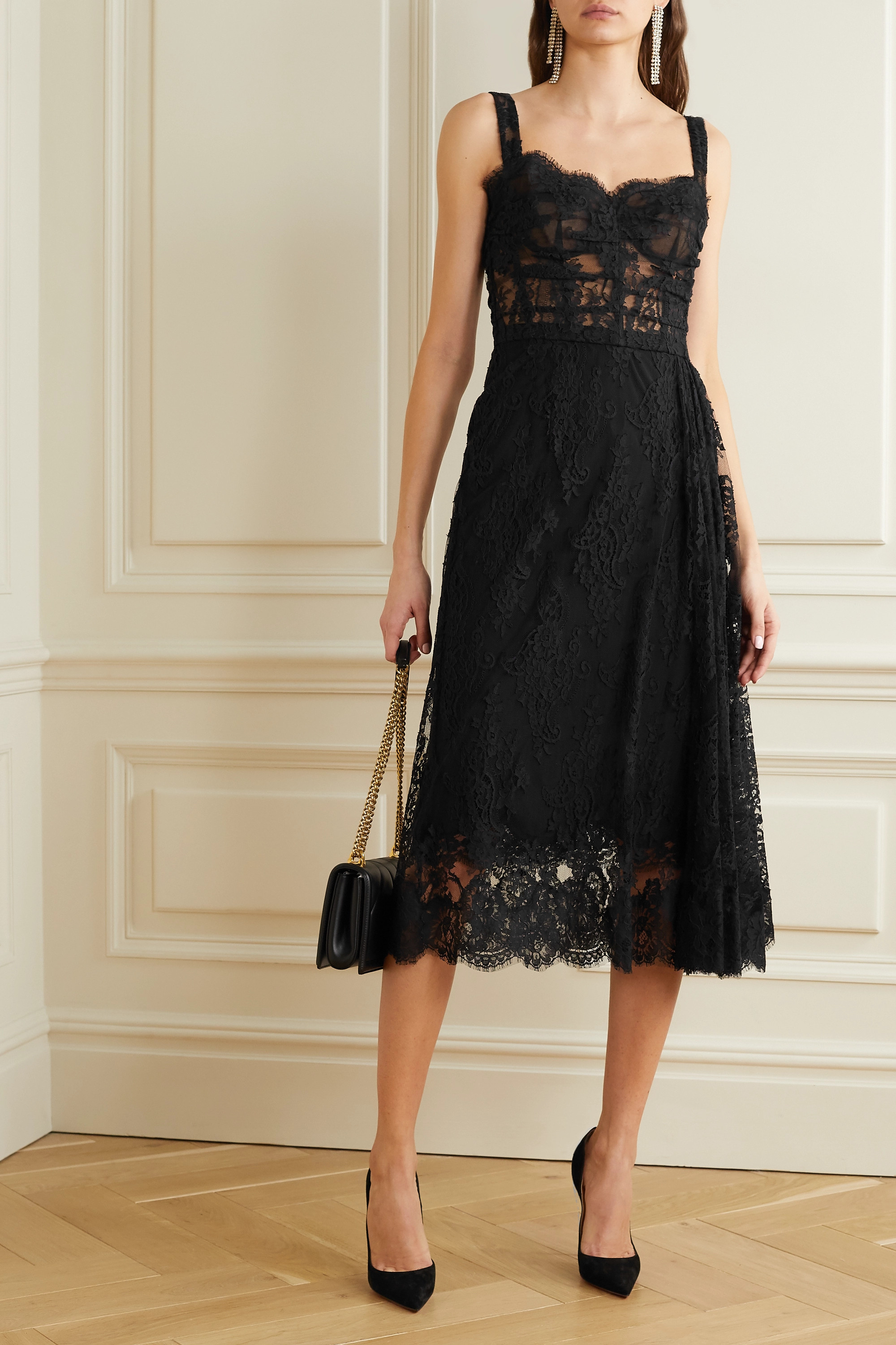 Dolce & Gabbana Cotton-blend Chantilly lace midi dress