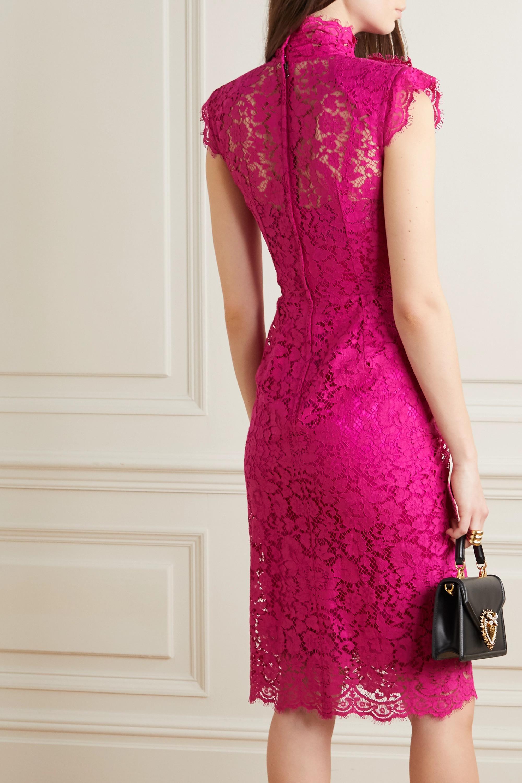 Dolce & Gabbana Kleid aus schnurgebundener Spitze aus einer Baumwollmischung mit Schluppe