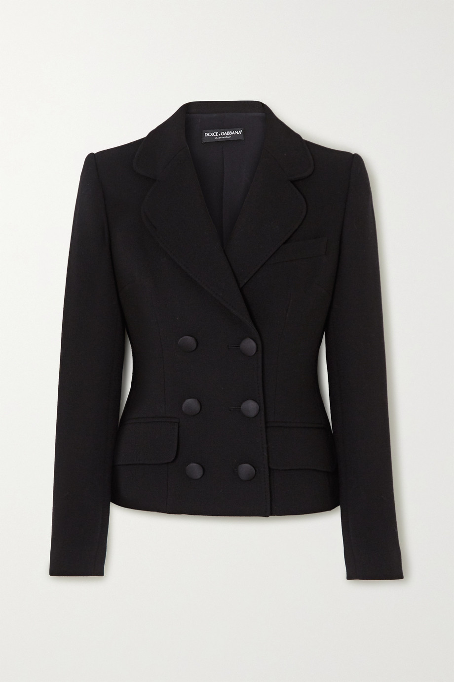 Dolce & Gabbana Double-breasted wool-blend crepe blazer