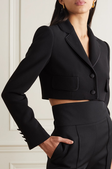 Cropped satin-trimmed stretch wool and silk-blend blazer