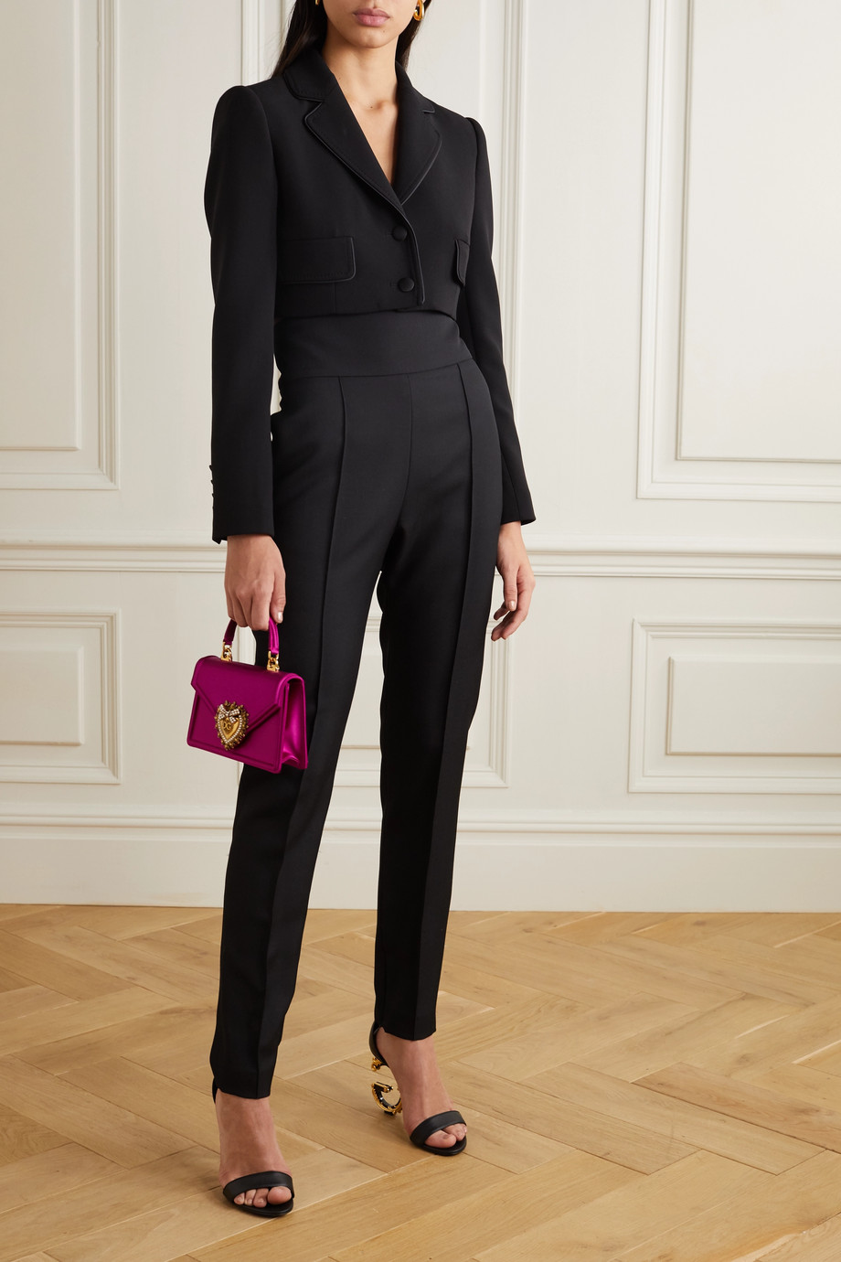 Dolce & Gabbana Cropped satin-trimmed stretch wool and silk-blend blazer