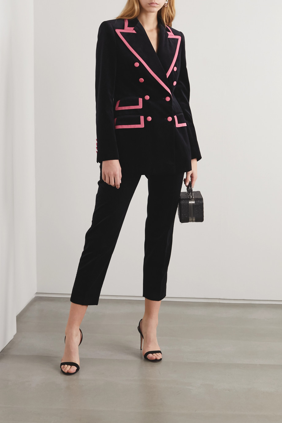 Dolce & Gabbana Two-tone double-breasted satin-trimmed velvet blazer