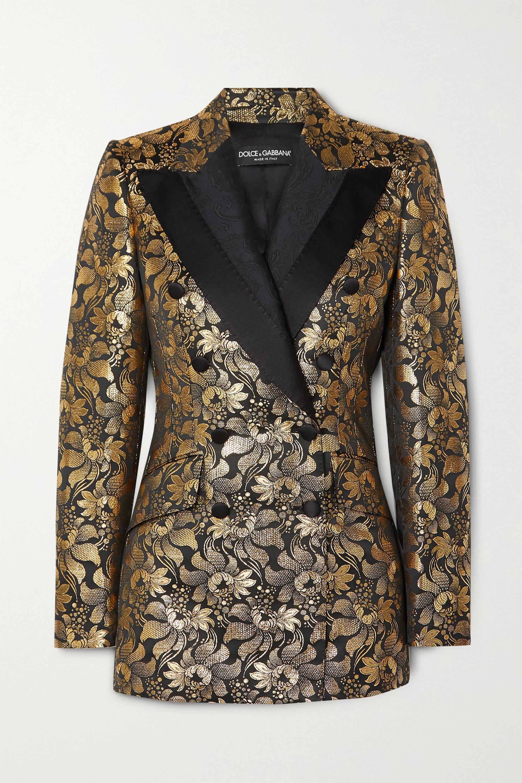 Dolce & Gabbana Blazer à double boutonnage en jacquard à imprimé fleuri métallisé