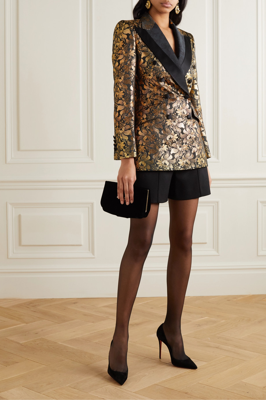 Dolce & Gabbana Double-breasted metallic floral-jacquard blazer