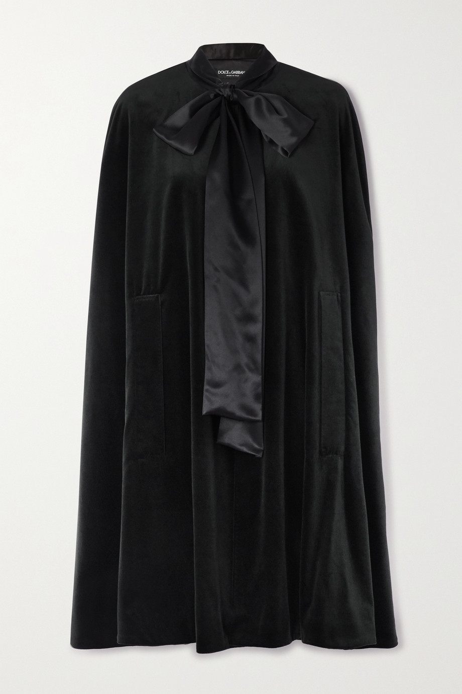 Dolce & Gabbana Pussy-bow satin-trimmed cotton and silk-blend velvet cape
