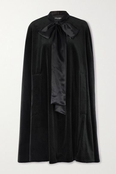 Dolce & Gabbana Pussy-bow Satin-trimmed Cotton And Silk-blend Velvet Cape In Black