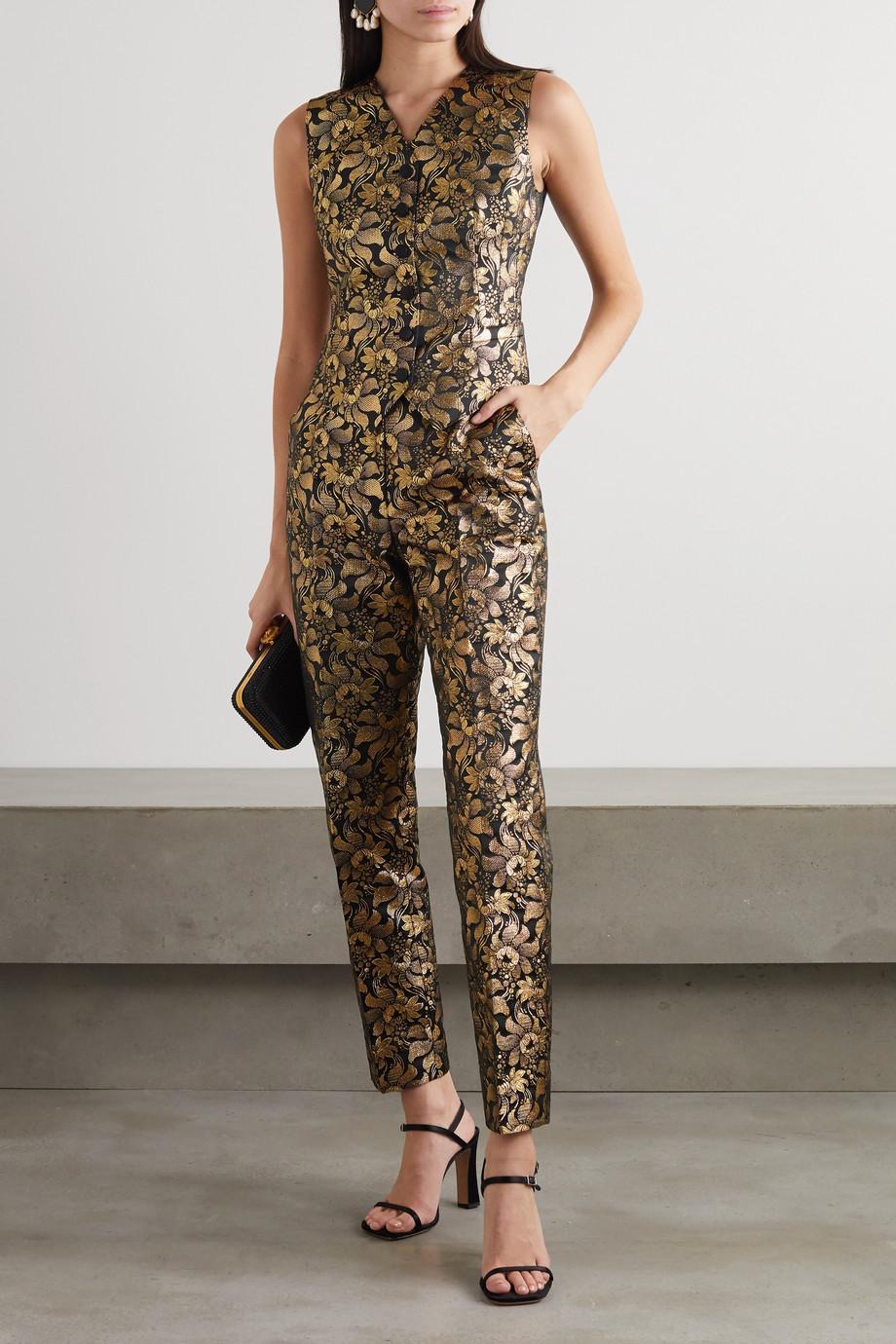 Dolce & Gabbana Metallic floral-jacquard and silk-blend satin vest