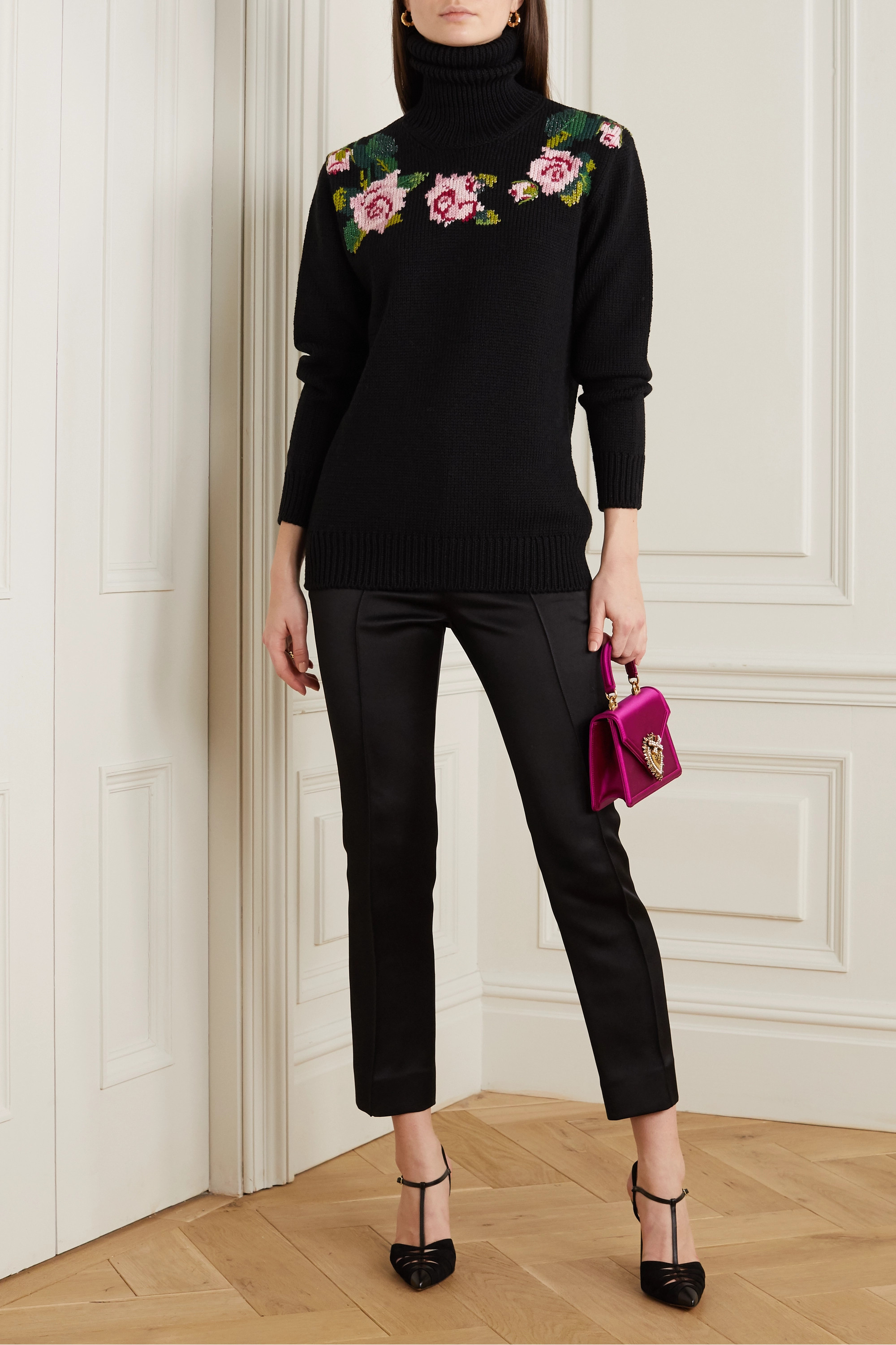 Dolce & Gabbana Intarsia wool-blend turtleneck sweater