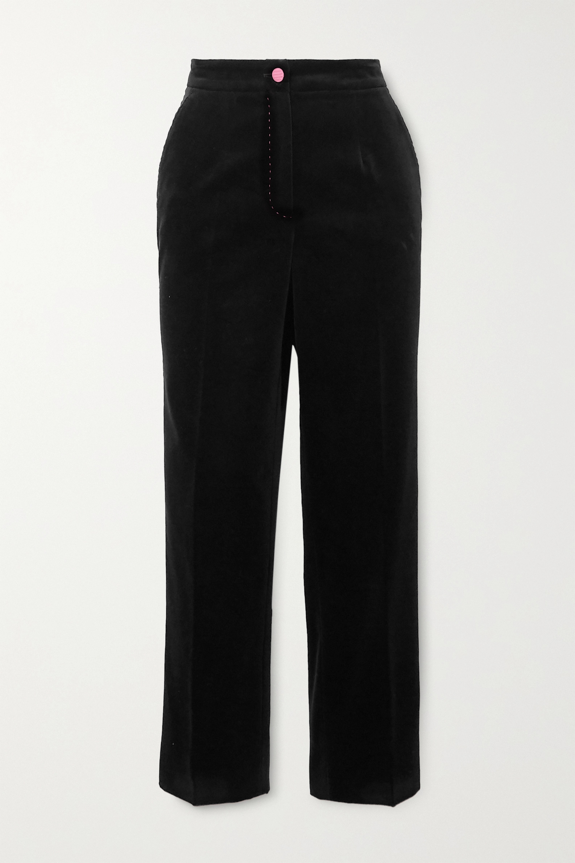 Dolce & Gabbana Topstitched cotton-velvet slim-fit pants