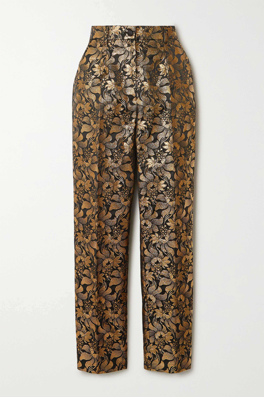 Dolce & Gabbana Metallic floral-jacquard straight-leg pants