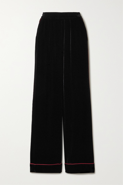 Dolce & Gabbana Piped velvet wide-leg pants