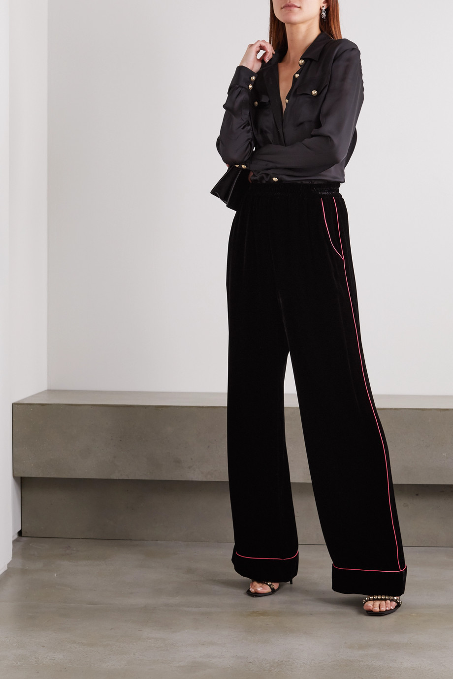 Dolce & Gabbana Piped velvet wide-leg pants