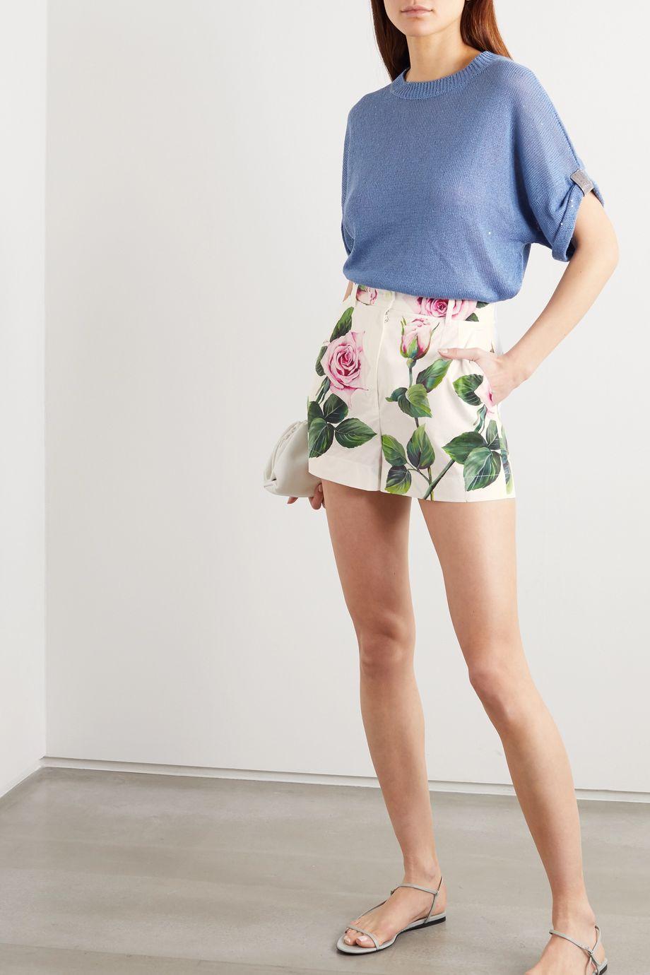 Dolce & Gabbana Floral-print cotton-poplin shorts