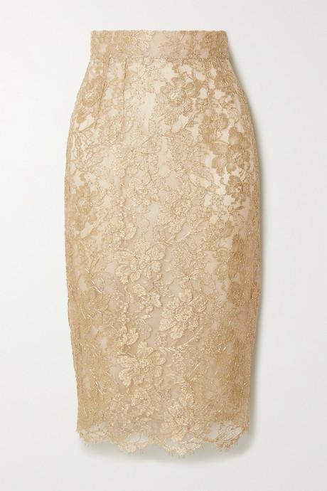 Gold Metallic lace midi skirt | Dolce & Gabbana Ps2ERh