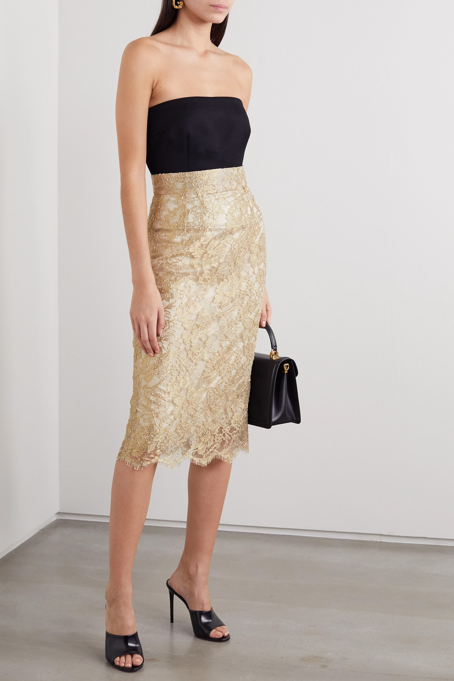 Dolce & Gabbana Metallic lace midi skirt