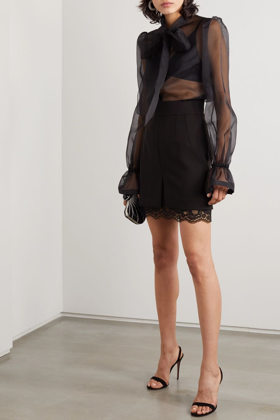 Dolce & Gabbana Chantilly lace-trimmed stretch-wool mini skirt