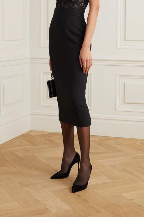 Wool-blend crepe midi skirt