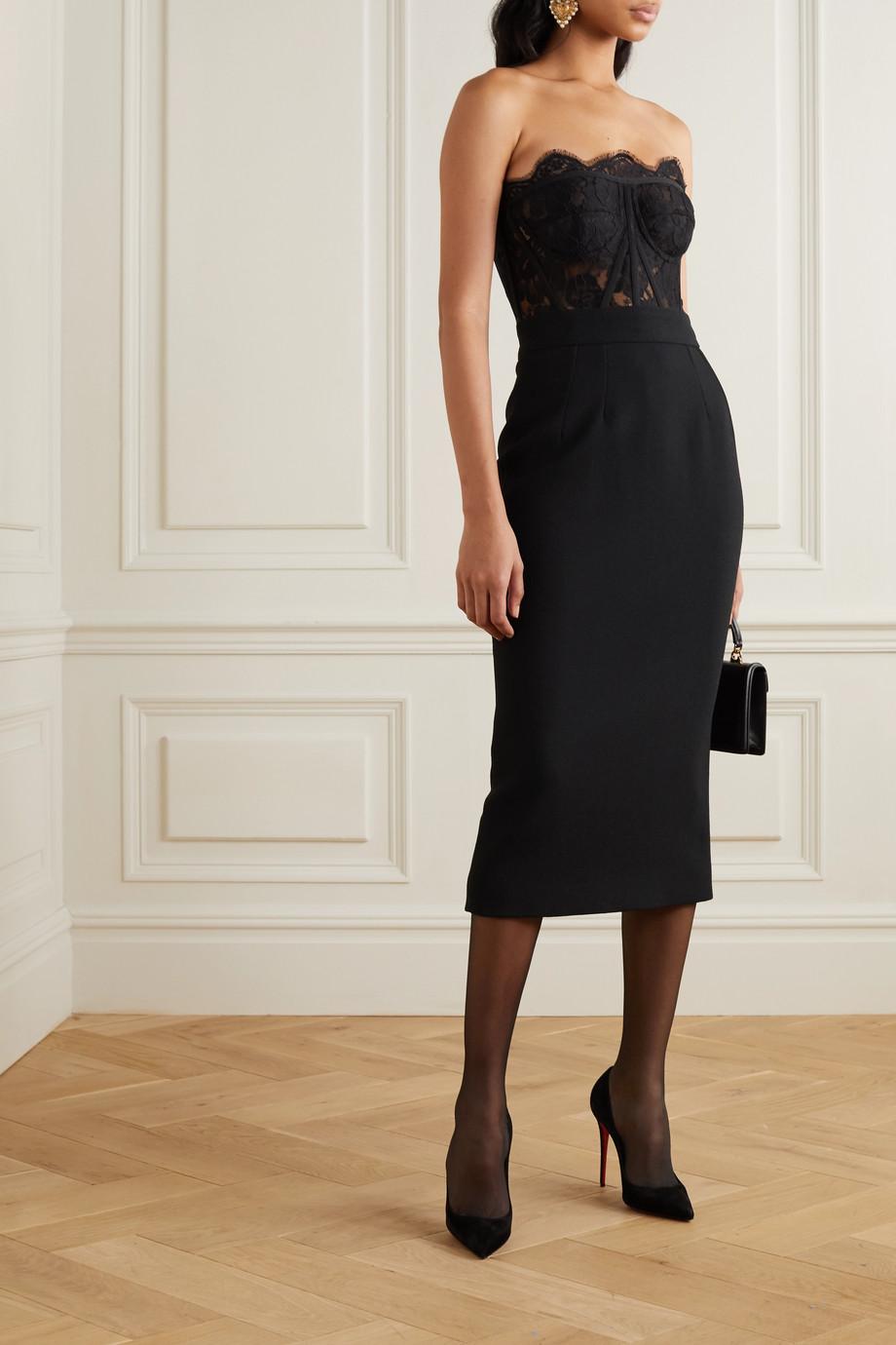 Dolce & Gabbana Wool-blend crepe midi skirt