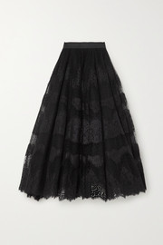 Dolce & Gabbana Embroidered appliquéd tulle maxi skirt