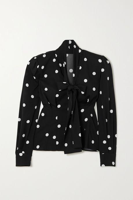 Black Pussy-bow polka-dot silk-blend blouse | Dolce & Gabbana UifNUk