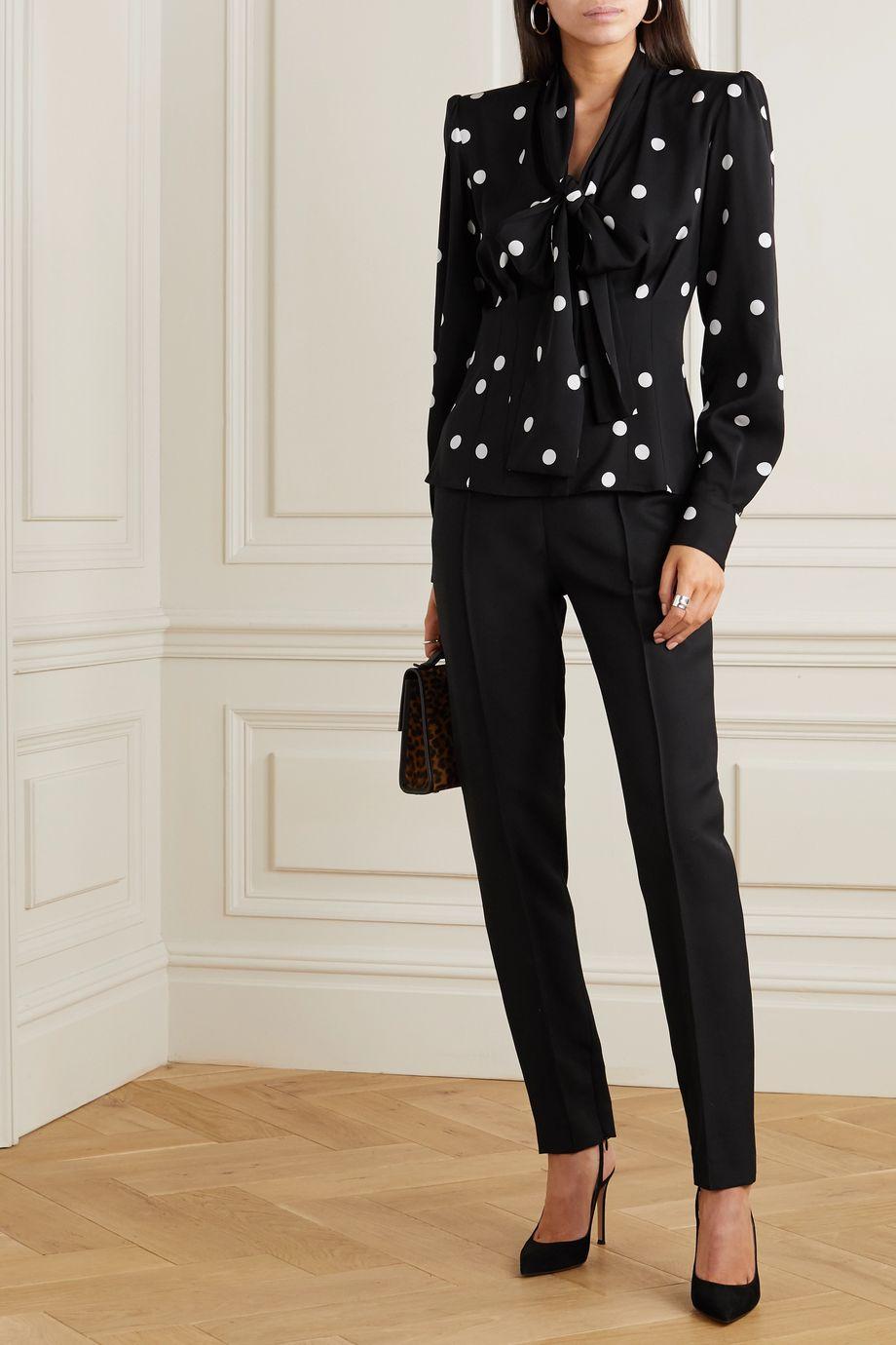 Dolce & Gabbana Blouse en soie mélangée à pois et à nœud lavallière