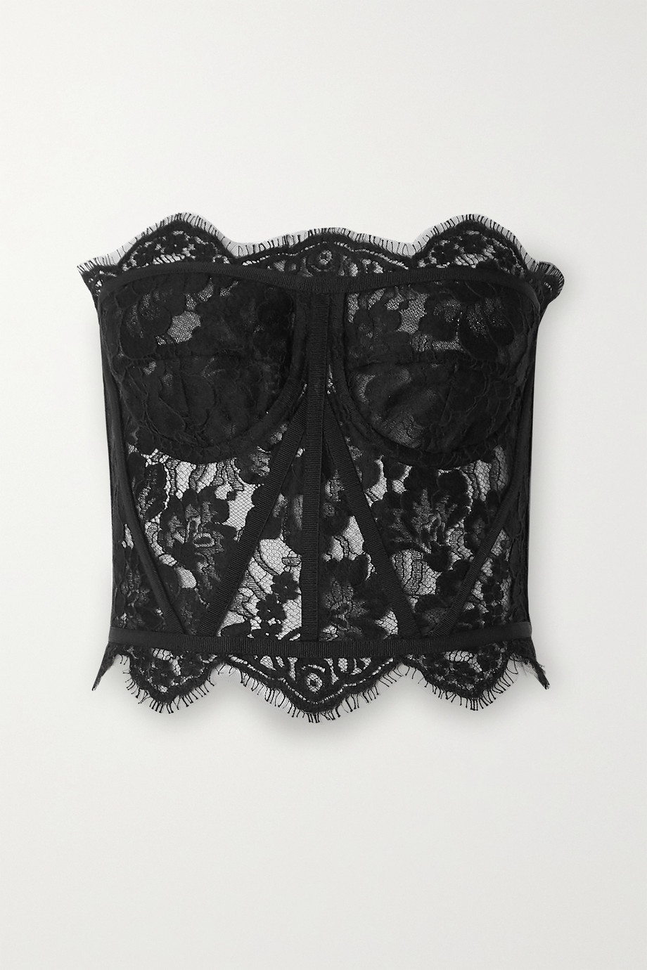Dolce & Gabbana Grosgrain-trimmed lace bustier top