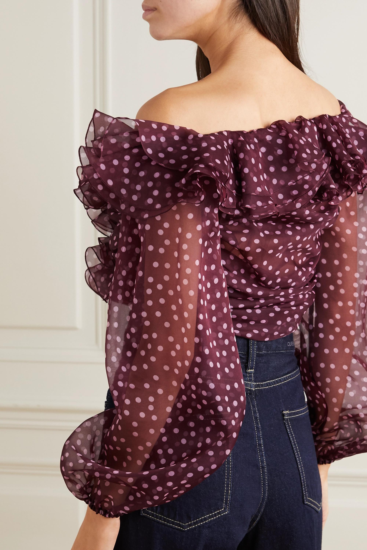 Dolce & Gabbana Off-the-shoulder ruffled polka-dot silk-organza blouse