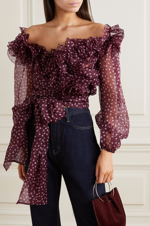 Dolce & Gabbana Haut épaules nues en organza de soie à pois et à volants