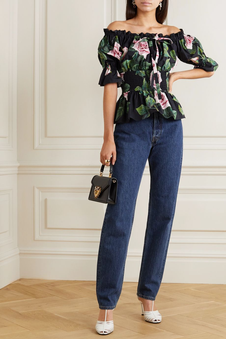 Dolce & Gabbana Off-the-shoulder ruched floral-print cotton-poplin top