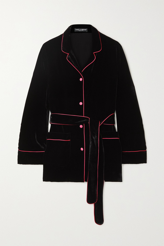Dolce & Gabbana Belted piped satin-trimmed velvet shirt