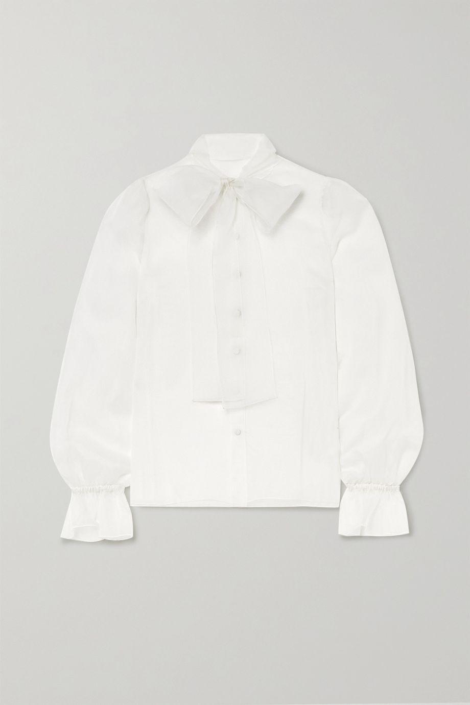 Dolce & Gabbana Blouse en organza de soie à nœud lavallière