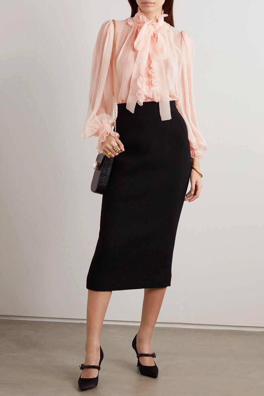 Dolce & Gabbana Pussy-bow ruffled silk-chiffon blouse