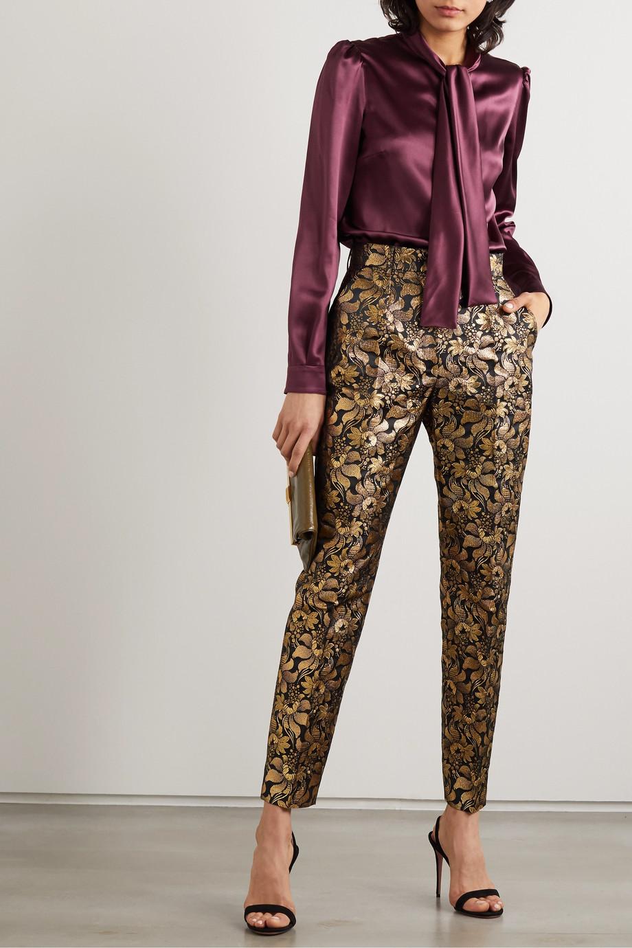 Dolce & Gabbana Pussy-bow silk-satin blouse