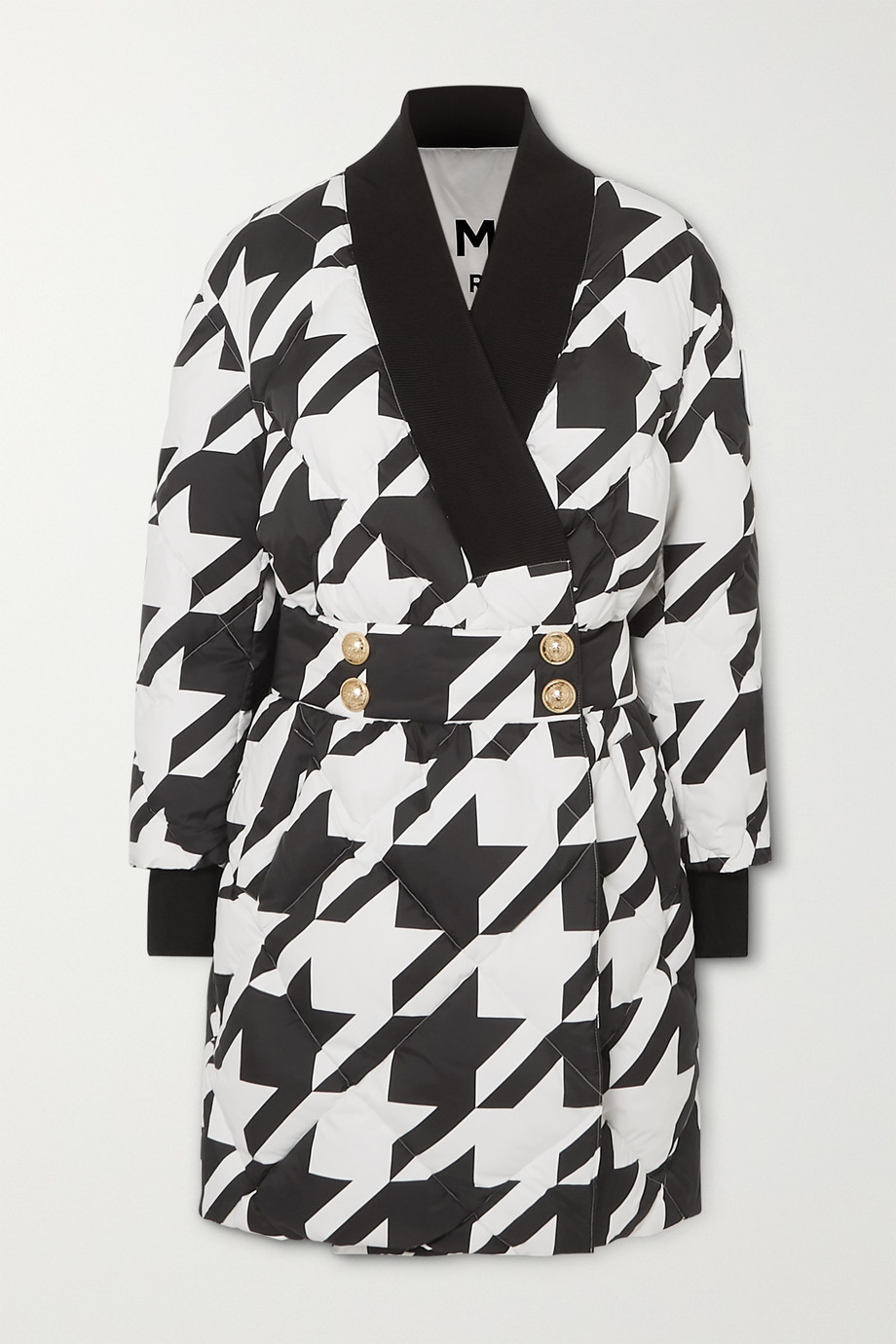 Balmain Button-embellished houndstooth quilted shell down coat
