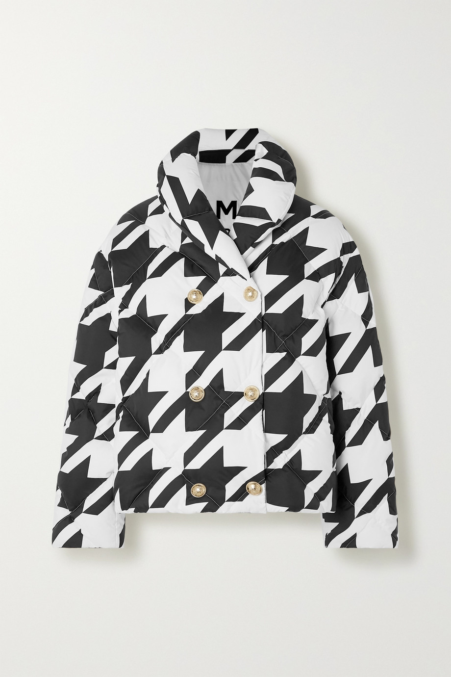Balmain Button-embellished houndstooth quilted shell down jacket