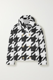 Button-embellished houndstooth quilted shell down jacket