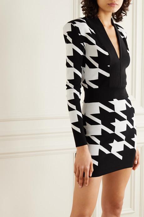 Houndstooth stretch-knit mini dress