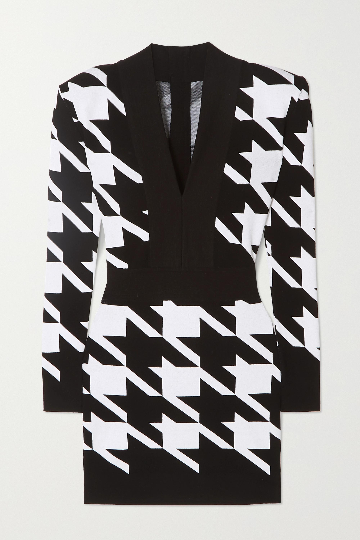 Balmain Houndstooth stretch-knit mini dress