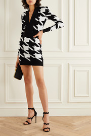 Balmain Houndstooth stretch-knit mini dress