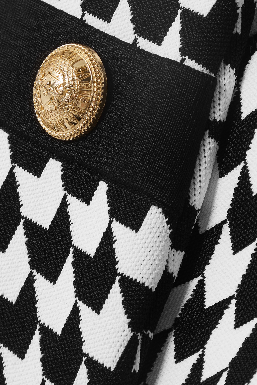 Balmain Button-embellished houndstooth stretch-knit mini dress