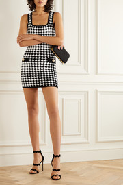 Balmain Button-embellished houndstooth stretch-knit mini dress