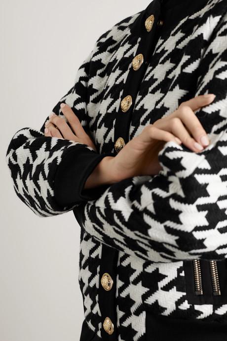 Button-embellished houndstooth wool-blend bomber jacket