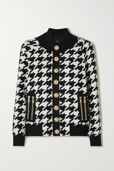 Button Embellished Houndstooth Wool Blend Bomber Jacket by Balmain