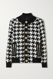 Balmain Button-embellished houndstooth wool-blend bomber jacket